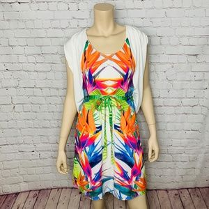 ANTHRO RANNA GILL White Tropical Print Dress S